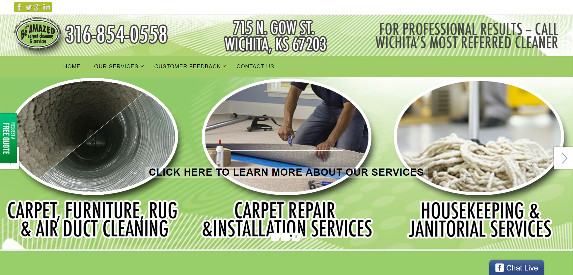Be Amazed Carpet Cleaning website