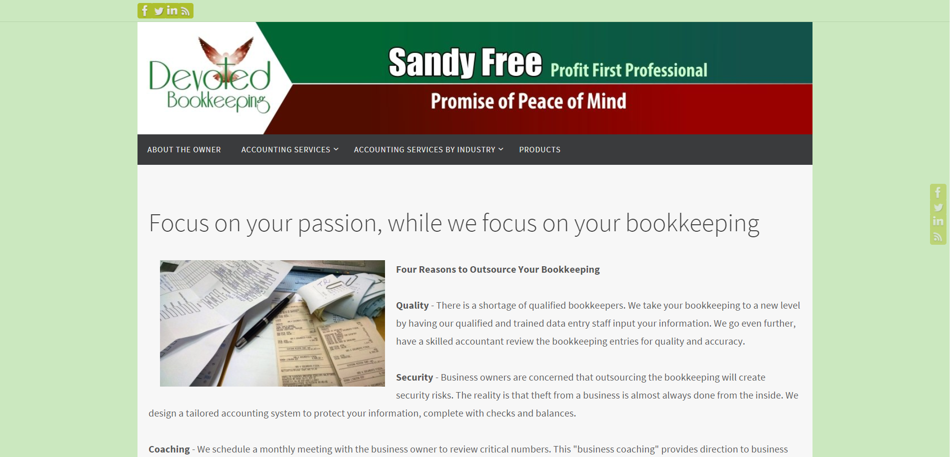 Devoted Bookkeeping website